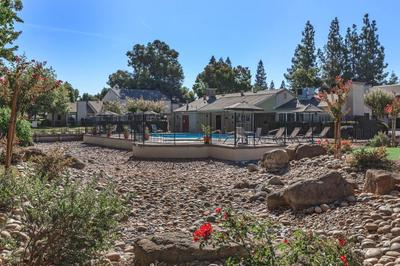 This is the view from the pool at Cobblestone Village