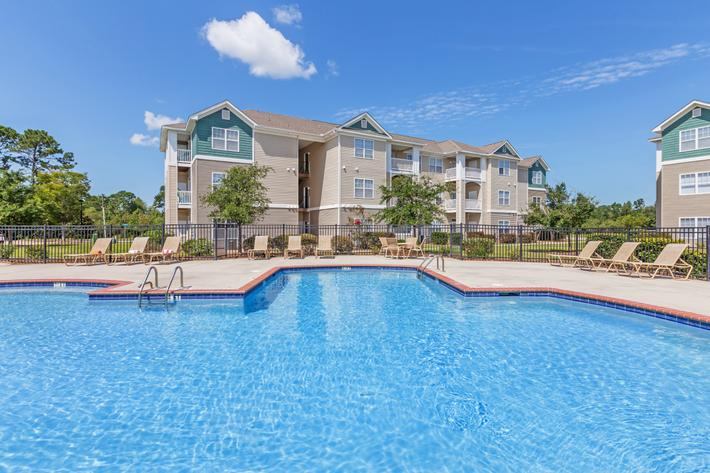 Shimmering Swimming Pool In New Providence Park In Wilmington, NC