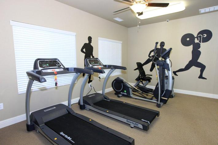 This is the fitness center at Greystone Apartments