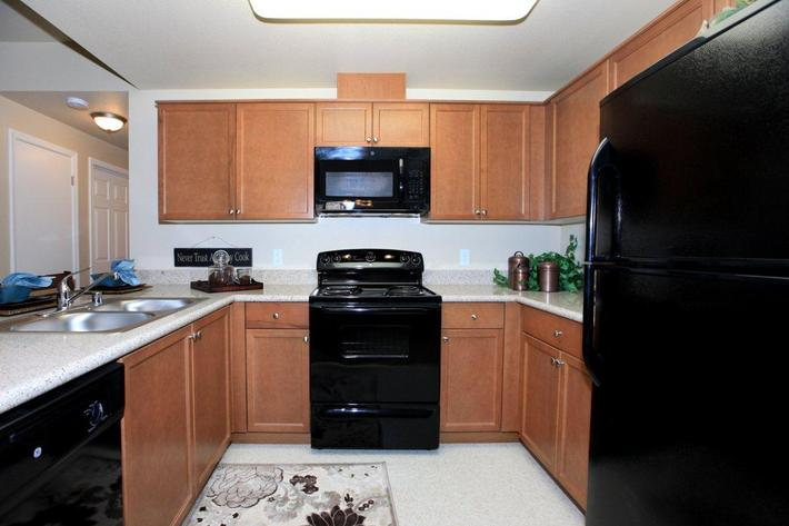 The kitchens at Greystone Apartments has lots of cabinet space