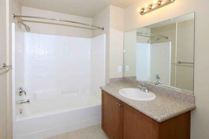 Modern bathrooms are offered to you at Greystone Apartments