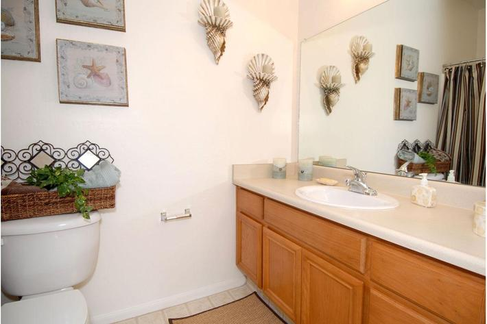 We offer large mirrors in our bathrooms at Rio Paseo