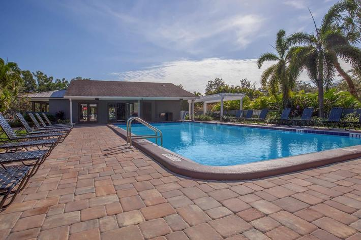 Go for a swim in the shimmering swimming pool at Arbor Oaks Apartments in Bradenton, Florida.