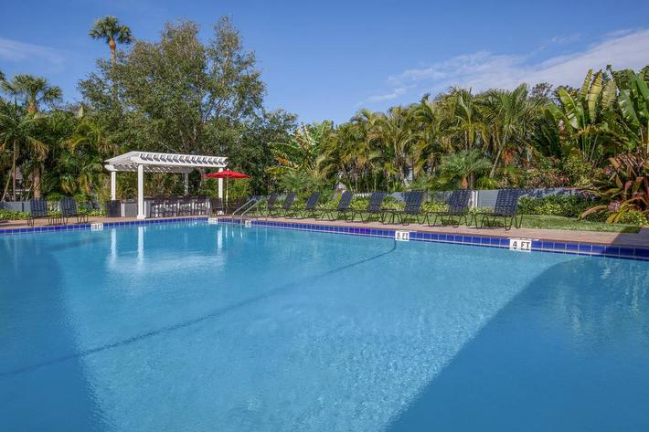 Go swimming in the shimmering swimming pool at Arbor Oaks Apartments in Bradenton, FL.