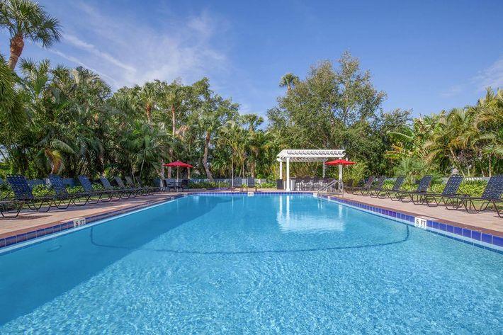 Shimmering swimming pool at Arbor Oaks Apartments in Bradenton, Florida.