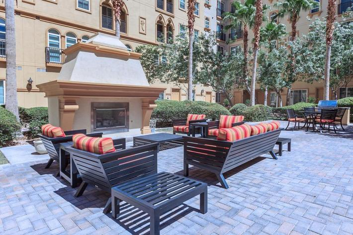 COURTYARD LOUNGE WITH FIREPLACE AT BOCA RATON IN LAS VEGAS, NEVADA