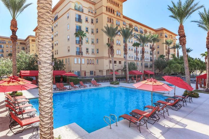 RELAX BESIDE OUR SHIMMERING SWIMMING POOL AT BOCA RATON IN LAS VEGAS, NEVADA