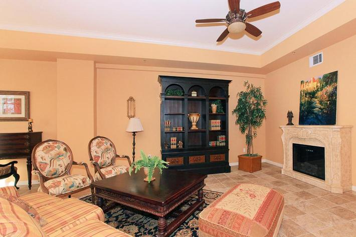 Living room with fireplace at Boca Raton