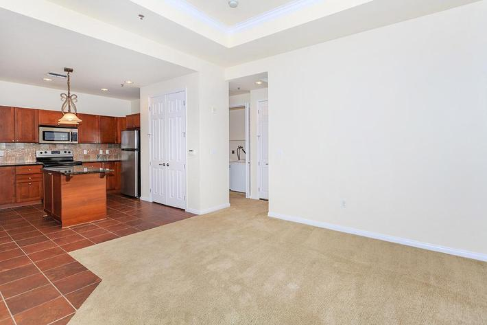 kitchen and living room at Boca Raton