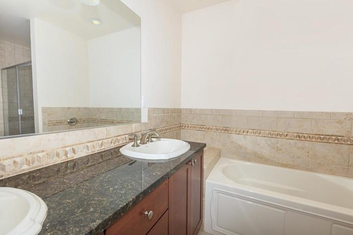 SPACIOUS COUNTERTOPS IN BATHROOM AT BOCA RATON IN LAS VEGAS, NEVADA