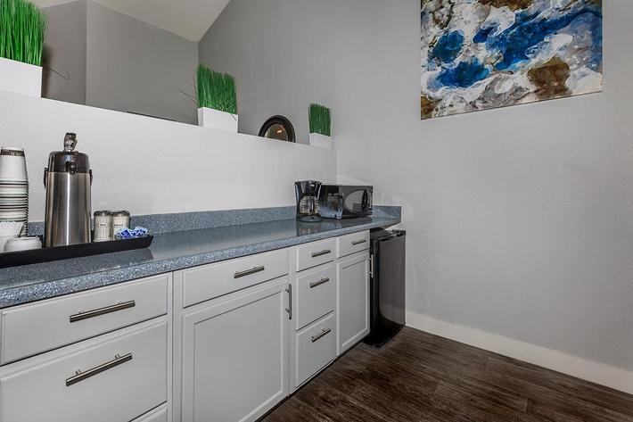 ENJOY OUR KITCHEN IN OUR CLUBHOUSE AT BELLA ESTATES APARTMENT HOMES IN LAS VEGAS, NEVADA