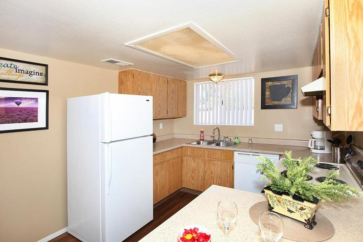 You will find an all-electric kitchen here at Bella Estates Apartment Homes