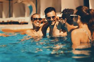 Happy Residents in Swimming Pool